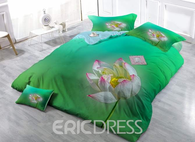 Beautiful Lotus Print Green Satin Drill 4-Piece Duvet Cover Sets