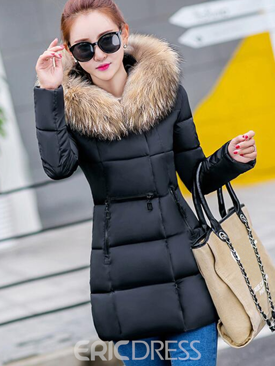 Ericdress Slim Faux Fur Pocket Collar Coat