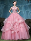 Ericdress Bateau Ball Gown Beading Lace Pick-Ups Floor-Length Quinceanera Dress
