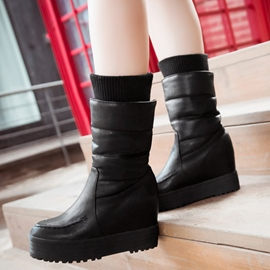 Ericdress Kintting Patchwork Elevator Heel Ankle Boots