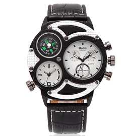 Ericdress Leder Band Kompassrose Design Herrenuhr