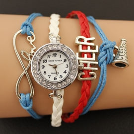 Ericdress Fully-Jewelled Small Fully-Jewelled PU Strap Watch