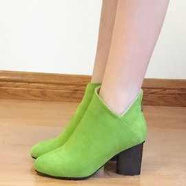 Ericdress Bright Suede Chunky Heel Ankle Boots