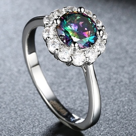 Ericdress Colorful Zircon Inlaid Flower-Shaped Ring