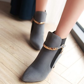 Ericdress Metal Decorated Point Toe High Heel Boots