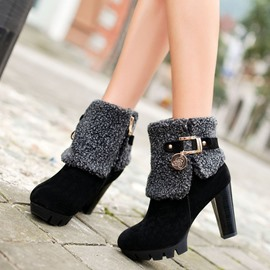 Ericdress Chic Short Floss High Heel Boots