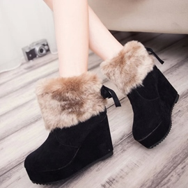 Ericdress Pretty Short Floss Wedge Heel Ankle Boots