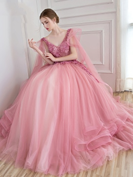 114fb081490 Ericdress Ball Gown V-Neck Appliques Beading Floor-Length Quinceanera Ball Gown  Dress
