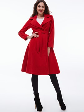 Ericdress Solid Color Polo Slim Wave Cut Coat