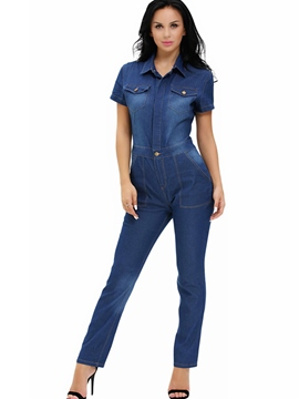 Ericdress Simple Denim Jumpsuits Pants