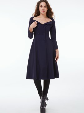 Ericdress Double-Breasted Wave Cut Slim Plain Coat