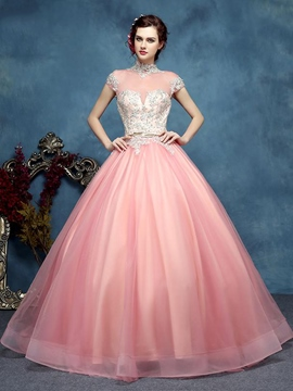 Ericdress Cap Sleeves Appliques Beading Court Train Quinceanera Dress