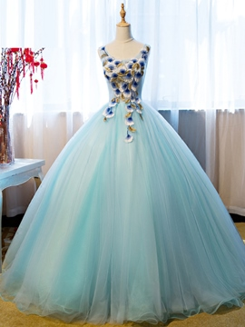 Ericdress Round Neck Ball Gown Embroidery Floor-Length Quinceanera Dress