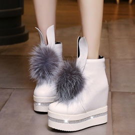 Ericdress Pom Decorated Elevator Heel Ankle Boots