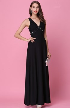 Ericdress a-line appliques tiefe v-neck lange prom dress