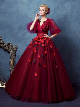 Ericdress V-Neck Ball Gown Half Sleeves Pleats Floor-Length Quinceanera Dress