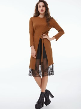 Ericdress Asymmetric Knitted Dress Leisure Suit