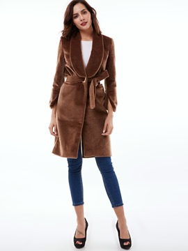 Ericdress Solid Color Fleece Coat
