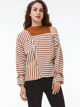 Ericdress Cold Shoulder Stripe T-Shirt