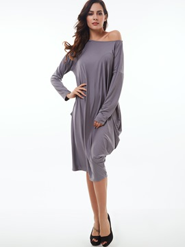 Ericdress Slash Neck Long Sleeve Pleated Mid-Calf Casual Dress