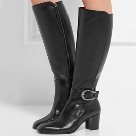 Ericdress Black Side Zipper Square Heel Knee High Boots
