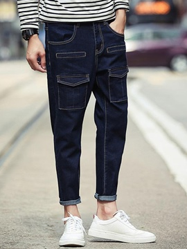 Ericdress Street Style Denim Pocket Casual Men's Pants