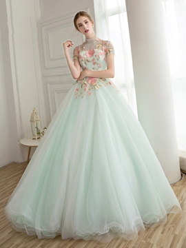 Ericdress High Neck Ball Gown Short Sleeves Appliques Flowers Long Quinceanera Ball Dress
