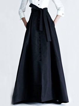 Ericdress Vintage Bowknot Expansion Maxi Skirt