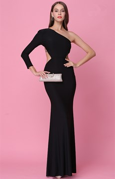 Ericdress One-Shoulder Long Sleeve Backless Mermaid Evening Dress