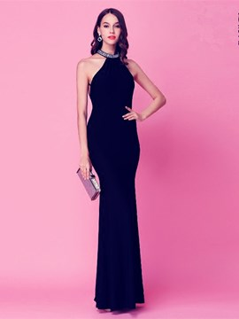 Ericdress Sheath Halter Beading Floor-Length Evening Dress