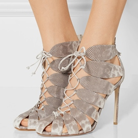 Ericdress Gray Cut Out Lace up Stiletto Sandals