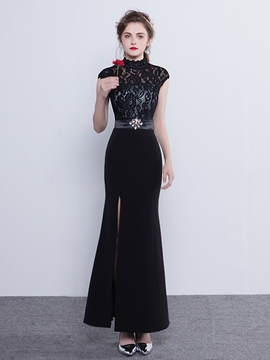 Ericdress Vintage Cap Sleeve High Neck Lace Sheath Evening Dress