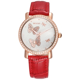Ericdress Butterfly Pattern PU Women's Quartz Watch