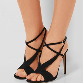 Ericdress Black Suede Cross Strap Stiletto Sandals
