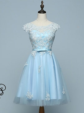 Ericdress A-Line Cap Sleeves Short Homecoming Dress With Applique