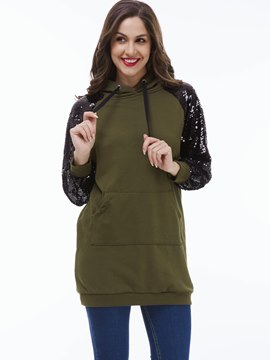 Ericdress Straight Sequins Patchwork Casual Hoodie