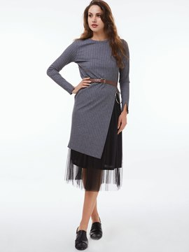 Ericdress Fashion Split Knitted Dress Leisure Suit