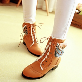 Ericdress Special Pattern Lace up Ankle Boots