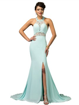 Ericdress Sexy Halter Beaded Side Slit Long Mermaid Evening Dress