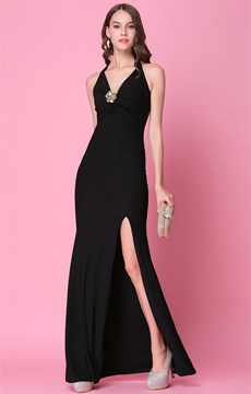 Ericdress Sheath Halter Crystal Long Evening Dress With Split-Front