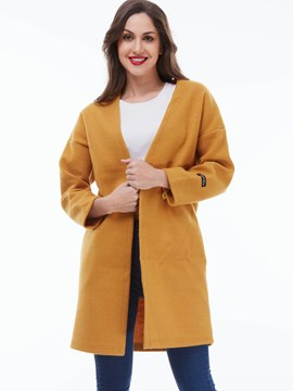 Ericdress Yellow Collarless Coat