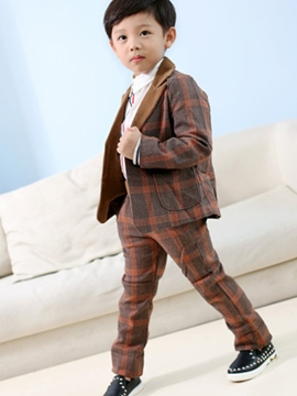 Ericdress Plaid Elastic waist Pants Two-Pieces Casual Boys Suit