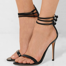 Ericdress Black PU Open Toe Stiletto Sandals