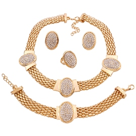 Ericdress Golden Full Rhinestone Four Pieces Jewelry Set
