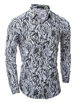 Ericdress Vogue Unique Print Long Sleeve Slim Men's Shirt