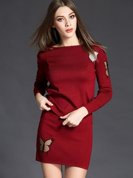 Ericdress Simple Knitted Column Skirt Leisure Suit