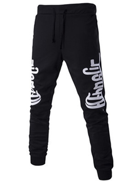 Ericdress Letter Print Lace-Up Sports Casual Men's Pants