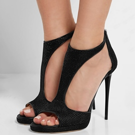 Ericdress Black T Strap Peep Toe Stiletto Sandals