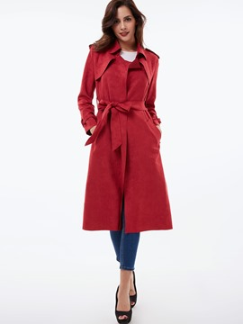 Ericdress Solid Color Belt Slim European Trench Coat