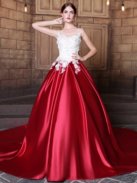 Ericdress Stunning Applique Lace Up Back Chapel Train Ball Gown